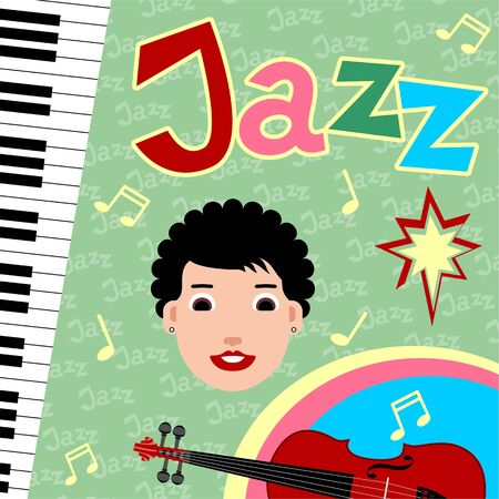 Design of posters with musicians and musical instruments for jazz festival. Colorful vector illustrations.