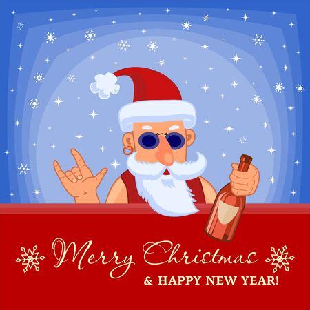 Zły Mikołaj z butelką gorzały. Rock-n-roll. Kartkę z życzeniami Wesołych Świąt i Szczęśliwego Nowego Roku