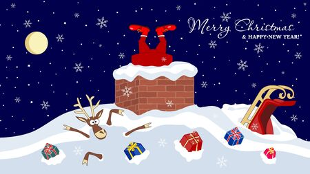 Santa Claus stuck In The Chimney, legs sticking out of the pipe at home, deer and gifts in a snowdrift. Merry Christmas and Happy New Year Holiday greeting card. Vector illustration