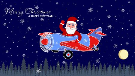Santa Claus or St. Nicholas waves his hand in the plane on Christmas Eve. Merry Christmas and Happy New Year Holiday greeting card. Vector illustration Illustration