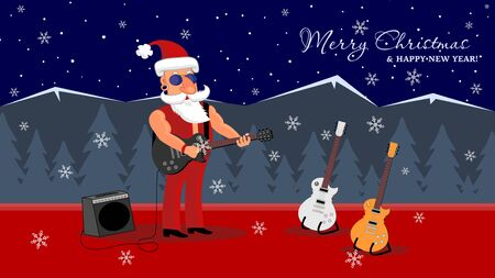 Bad Santa Rock Star stands on stage with a guitar playing rock and roll. Merry Christmas and Happy New Year Holiday greeting card. Vector illustration