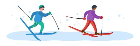Two professional skiers in multi-colored tracksuits swiftly run along the snowy slope.