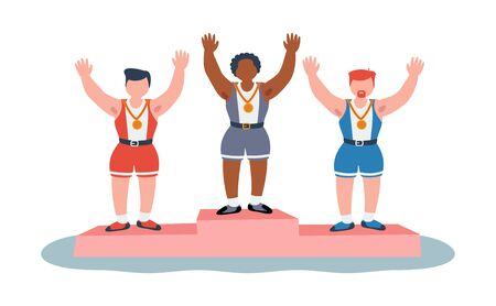 The ceremony of awarding medals to athletes on the podium. Men s winners. Character vector illustration of flat people.