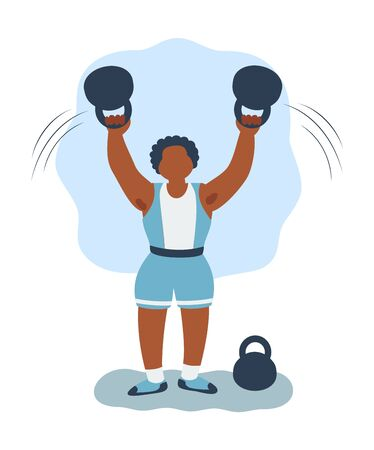 Muscle training - athlete and two metal weights - abstract background - vector. Weightlifting.