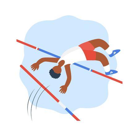 Salto in alto e salto con l'asta. Illustrazione piatta vettoriale isolato su sfondo bianco Vettoriali