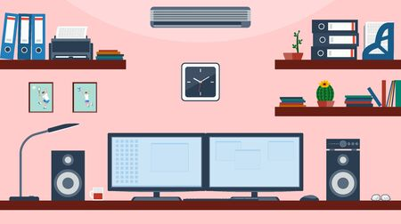 Workspace for business. Creative office space vector with display on the table - workspace layout template. Ilustracja
