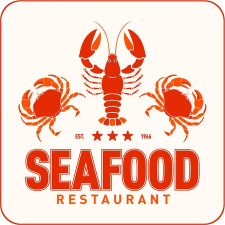 Seafood restaurant logo vector illustration. Market emblem, crafish and crabs silhouette