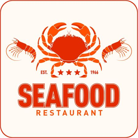 Seafood restaurant logo vector illustration. Market emblem, crab and shrimps silhouette