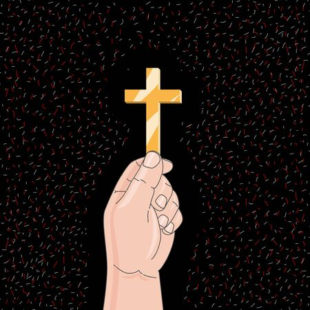 Devout christian worshiping with cross in hand. Vector illustration, flat design. Illustration
