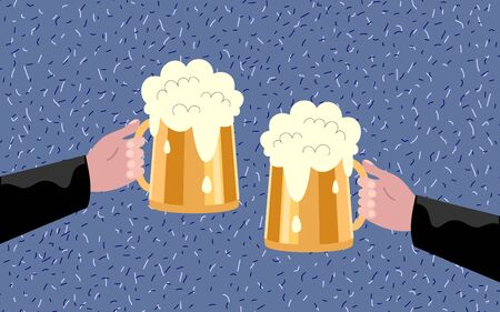 Two hands holding beer glasses, beer glasses clinking. Flat design vector illustration Ilustrace