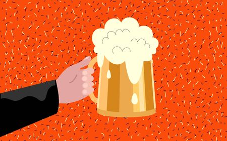 Man hand holding and clinking beer glass with foam. Color flat vector illustration. Ilustrace
