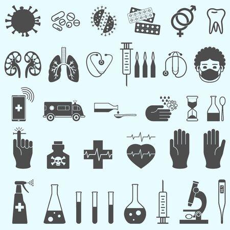 Medical set. Medical mask, syringe, aboratory glassware, gloves, thermometer, ambulance, microscope, syringe, spray. ovid 19. Virus protection. Stock Illustratie