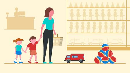 Parent with children in a children s market. Mom holds children by the hand. Composition on a light yellow background. Vector illustration