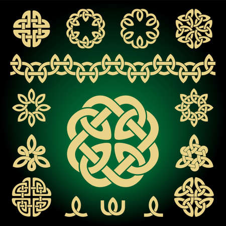 Set of vector celtic knot. Patterns and parts. Ethnic ornament. Geometric design