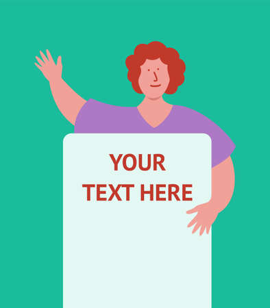 Woman holds blank paper poster. Flat art style vector illustration. Put your own text template.