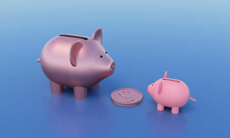 A large gold piggy bank stands opposite a small pink piggy bank, with a gold dollar coin between them. 3d rendering