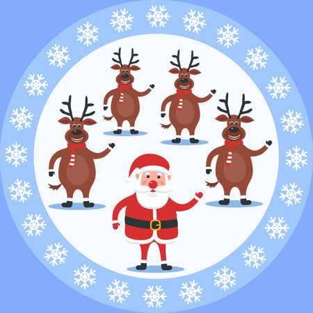 Merry Christmas poster with Santa Claus and deer. Holiday greeting card. Vector illustration Ilustracja