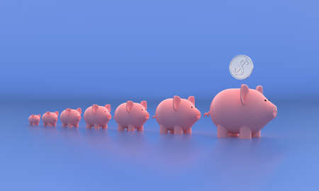 Seven pigs piggy banks and one dollar coin. 3d illustration Zdjęcie Seryjne