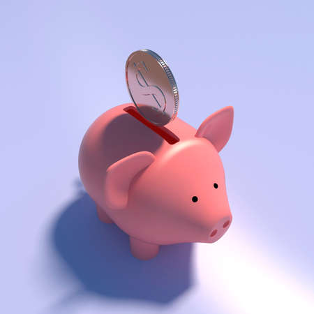 Coin Piggy bank 3d rendering for money content. Financial success concept, pig money. 3d illustration