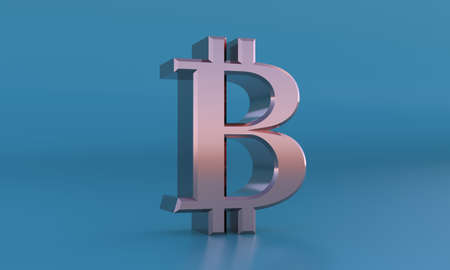 Golden bitcoin sign. 3D currency symbol, currency icon. 3d rendering