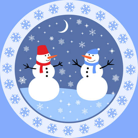 The meeting of two snowmen, winter Christmas card with snowflakes on a blue background
