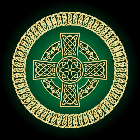 Celtic Cross Vector Illustration. Celtic symbol. Highly detailed with Irish traditional Ilustracja