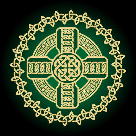 Vector graphic illustration of a Celtic Cross, highly detailed with Irish traditional