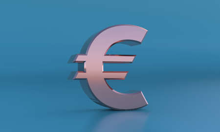 Golden euro sign. 3D currency symbol, currency icon. 3d rendering