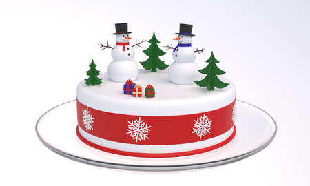 Rendered model of a white cake with two snowmen, snowflakes, Christmas trees, boxes with gifts. Cake on a glass plate. 3D illustration