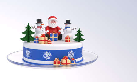 Cake with Santa Claus and two snowmen, Christmas trees, gift boxes, idea for New Year, Christmas banner, greeting card, design element. Isolated on white background. 3D rendering Zdjęcie Seryjne - 160265049
