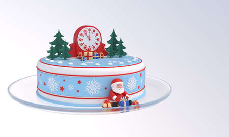 Cake with clock, Santa Claus, Christmas trees, gift boxes, idea for New Year, Christmas banner, greeting card, design element. Last 6 minutes before 12 oclock. 3D rendering Zdjęcie Seryjne