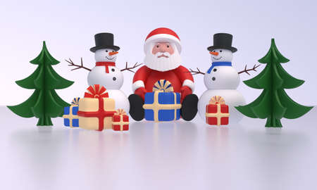Santa Claus and two snowmen, Christmas trees, gift boxes on ice. Idea for New Year, Christmas banner, greeting card, design element. 3D rendering Zdjęcie Seryjne