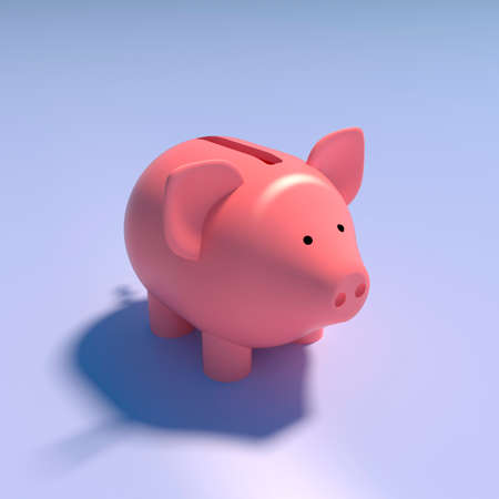 Pink pig piggy bank on blue background, 3d illustration