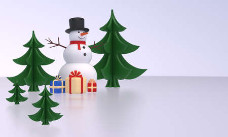 Snowmen, Christmas trees, gift boxes on ice. Idea for New Year, Christmas banner, greeting card, design element. 3D rendering
