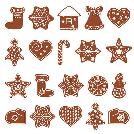 Set with gingerbread cookies of different shapes. Christmas holiday cookies. Vector illustration