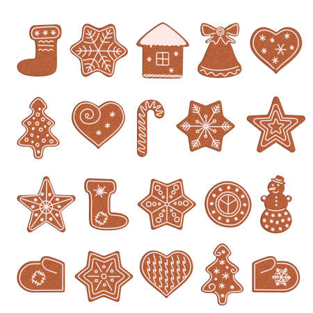 A set of gingerbread cookies of different shapes. Christmas cookies. Isolated on white background