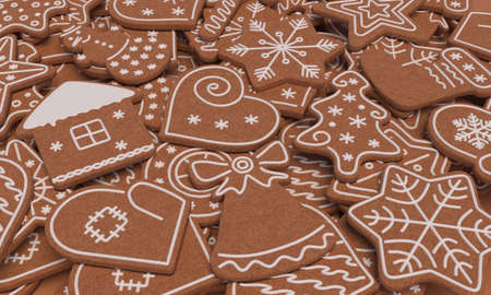 Gingerbread cookies of different shapes. Christmas cookies.