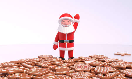 3D rendering. Santa Claus stands on the ice and waves his hand over a scattering of gingerbread. Idea for the New Year, Christmas banner, greeting card, design element. Zdjęcie Seryjne
