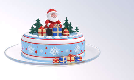 3D rendering. Cake with Santa Claus, Christmas trees, gift boxes, snowflakes, red stars, idea for New Year, Christmas banner, greeting card, design element