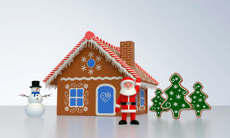 3D rendering. Santa Claus stands near the gingerbread house, a snowman and gingerbread in the form of a tree