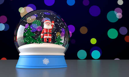 3D illustration. Christmas snow glass ball globe. Santa Claus, Christmas trees, falling snow inside. Colorful blurred background
