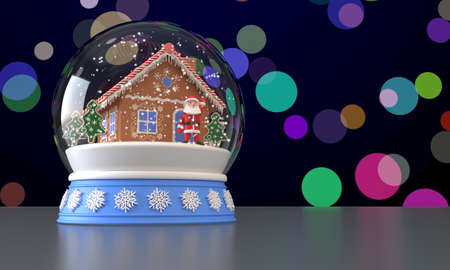 3D rendering. Snow globe with gingerbread house, Santa Claus and Christmas trees inside. Falling snow. Multicolored blurred background