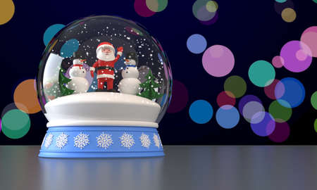 3D rendering. Snow globe with Santa Claus, two snowmen and Christmas trees inside. Falling snow. Multicolored blurred background