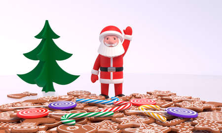 3D rendering. Santa Claus stands on the ice and waves his hand over a scattering of gingerbread and candys. Idea for the New Year, Christmas banner, greeting card, design element. Zdjęcie Seryjne