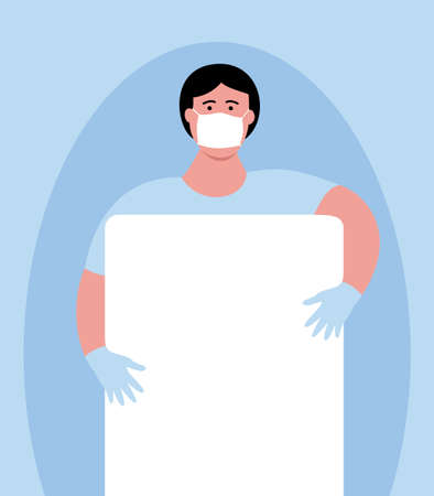 Man medical professional in mask and gloves with blank sheet poster. Fighting coronavirus. Flat style art vector illustration. Post your own text template.