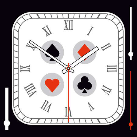 Vintage Rounded Square watch dial with arrows. Playing card suits on background. Vector illustration Ilustracja