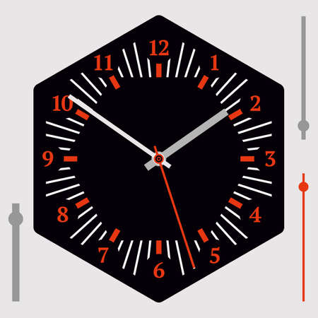 Hexagonal watch dial on black background. Hour, minute and second hands, numerals. Vector illustration
