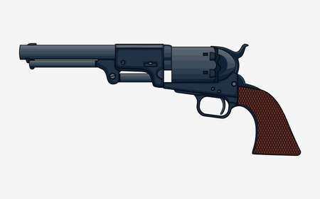 Revolver Pistol vector isolated illustration. Vintage   Revolver Drawing