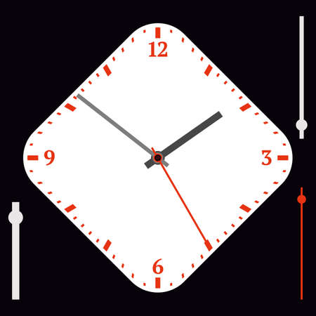 Vector vintage white diamond-shaped watch dial with arrows. Red numbers. Illustration clip-art Ilustracja