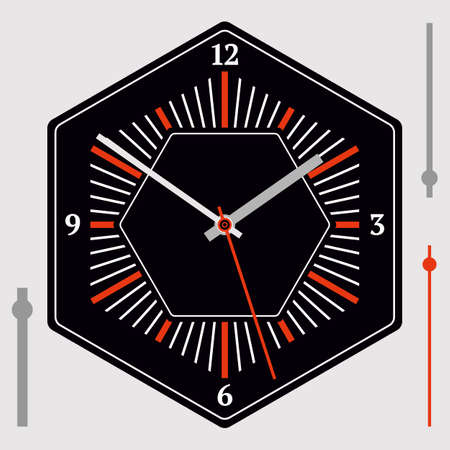 Hexagonal watch dial on black background. Hour, minute and second hands. Vector illustration